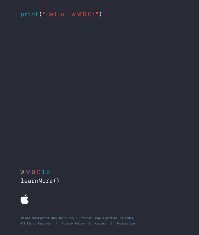 Apple WWDC event reg email example