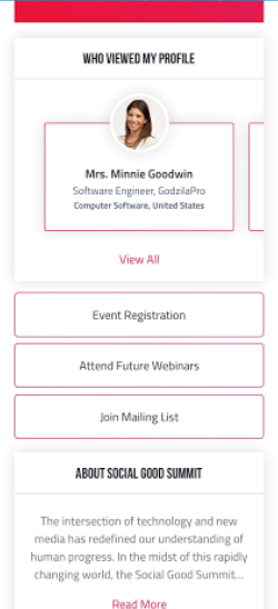 Profile view of Bizzabo's branded event app