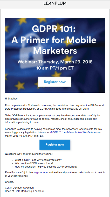 An example of setting the right tone in event email marketing