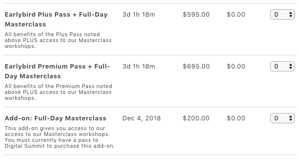 Event Ticket Types for Digital Summit Dallas