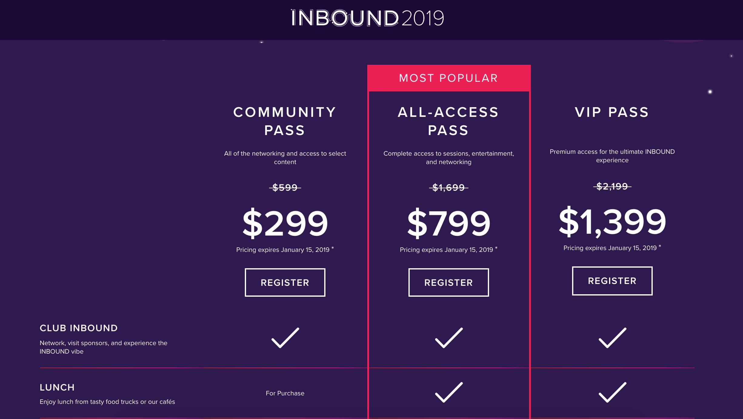 Event Ticket Types for INBOUND