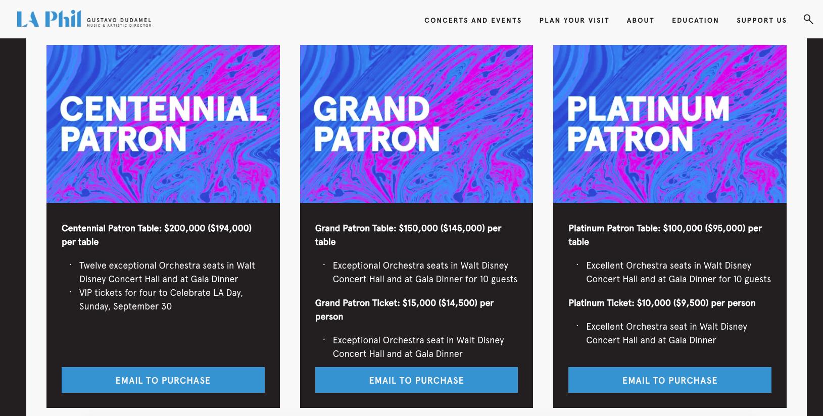 Event Ticket Types for LA Philharmonic