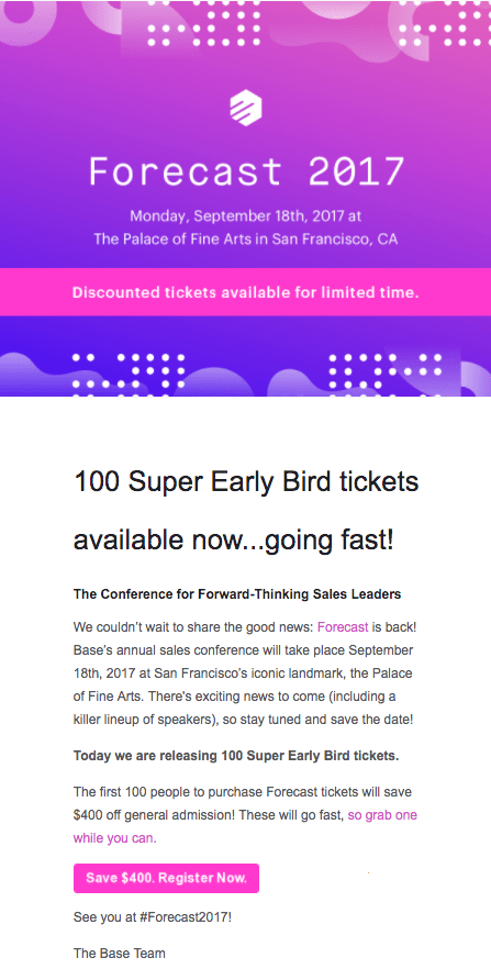 Forecast event reg email example maintains consistent color scheme