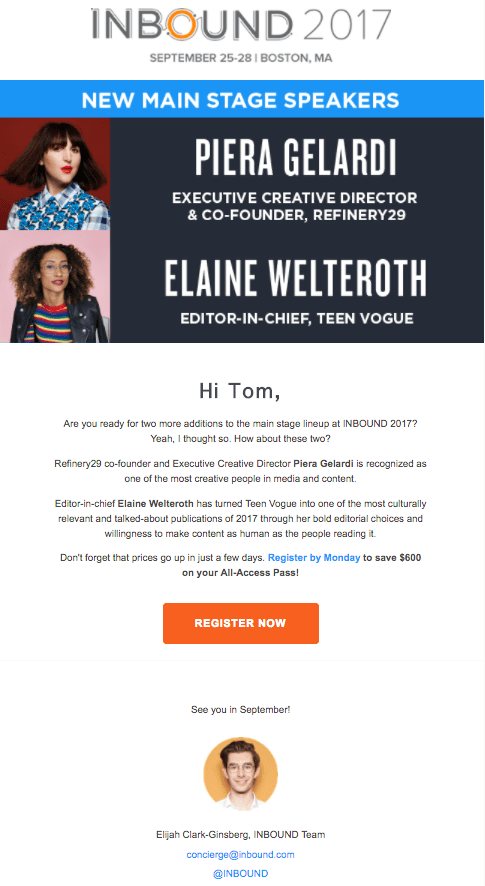 Inbound event email example highlights speakers