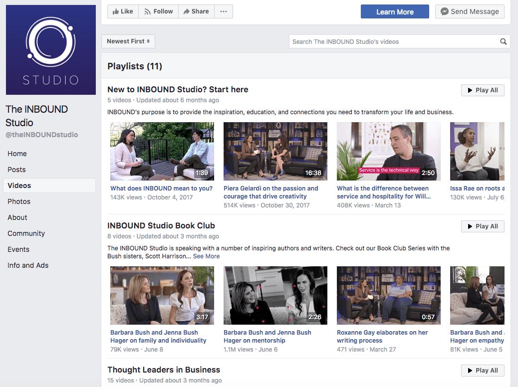 INBOUND's Facebook Page features abundant video content