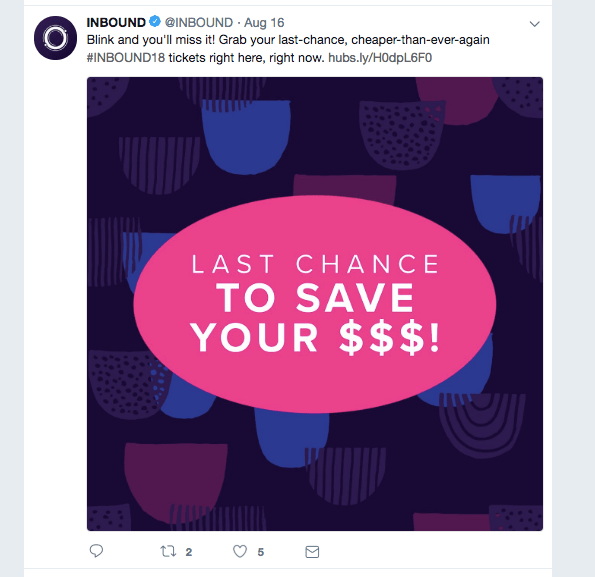 INBOUND promoting their event on Twitter