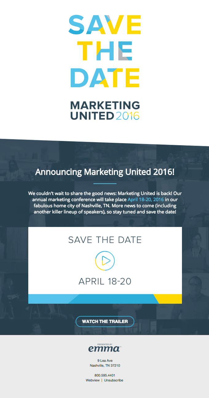 Marketing United event email example