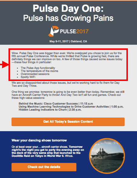 Pulse event engagement email example