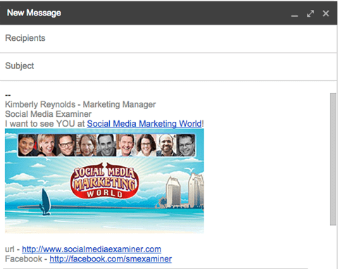 Social Media Marketing World email signature event email example