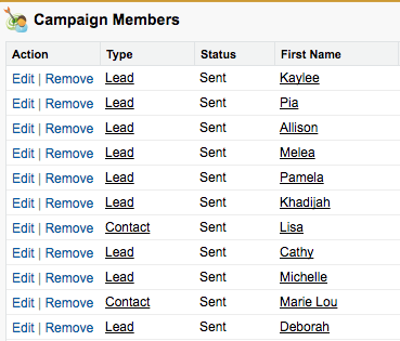 Tracking campaign contacts in Salesforce