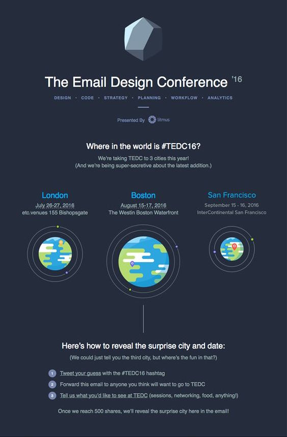 The Email Design Conference event email example