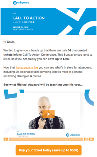 Unbounce event email example uses video