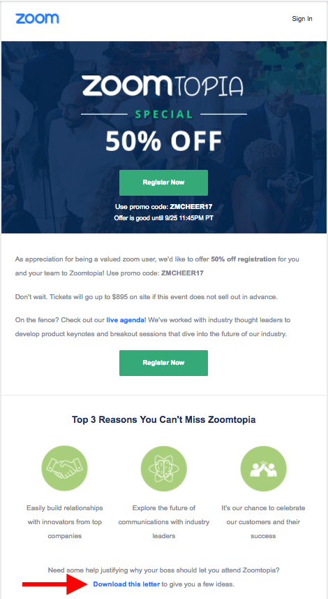 Zoomtopia's Convince Your Boos Email