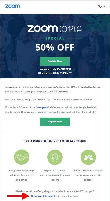 Zoomtopia event email example