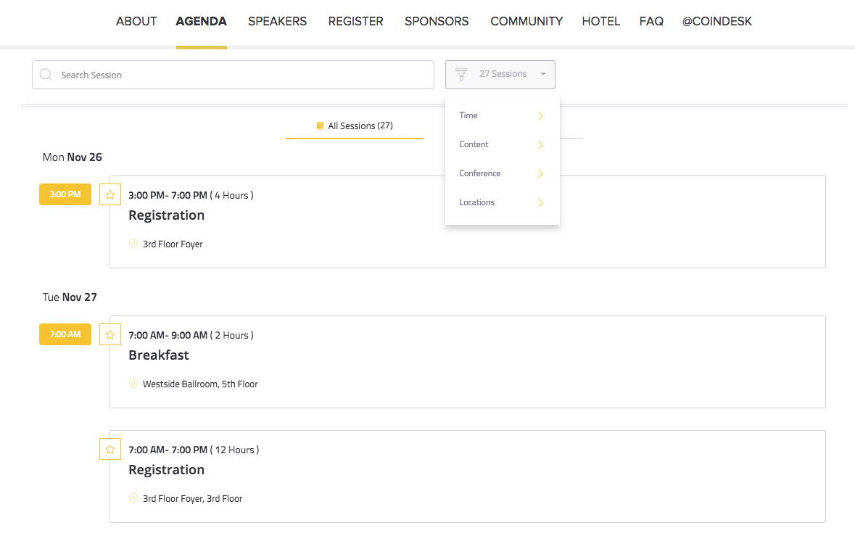 CoinDesk Event Agenda