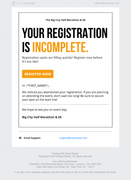 Retargeting to nudge visitors to completing registration