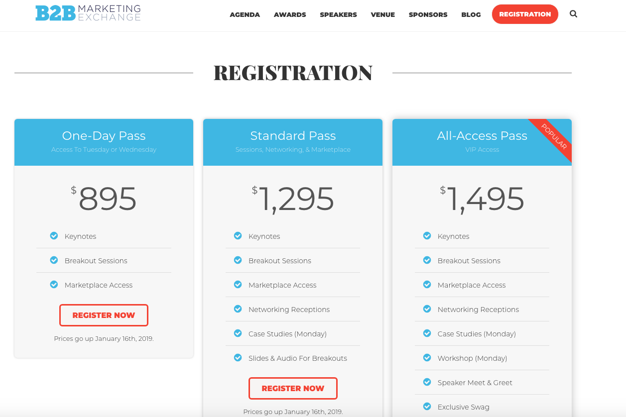 An example of different registration options