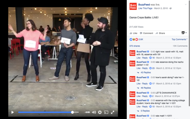 BuzzFeed streaming Facebook Live