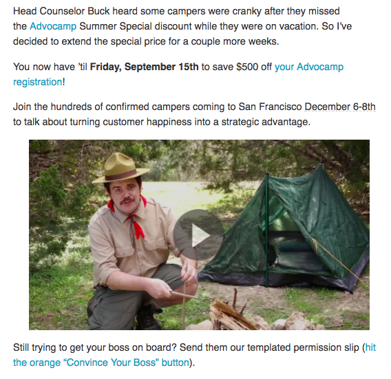 Event email featuring video for Advocamp