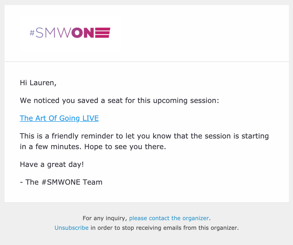 SMWONE - Email Example
